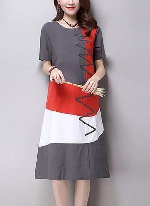 Cotton Color Block Short Sleeve Knee-Length Shift Dress