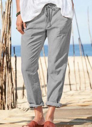 Casual Straight Pockets Mid Waist Polyester Pants (146959923)