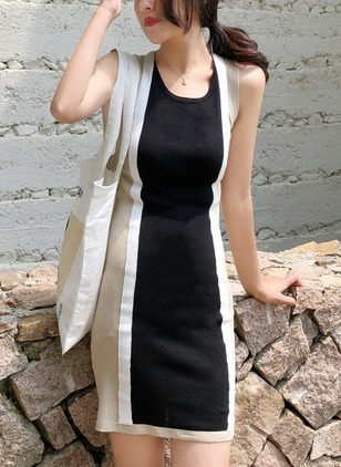 Chiffon Color Block Sleeveless Above Knee Shift Dress