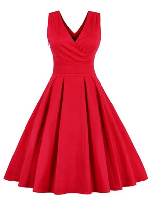 Solid Bow Sleeveless Midi A-line Dress