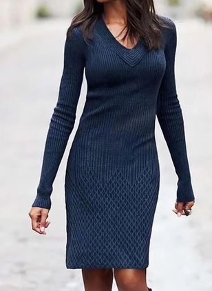 Casual Solid Sweater V-Neckline Sheath Dress (122028981)