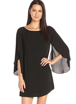 Solid 3/4 Sleeves Shift Dress