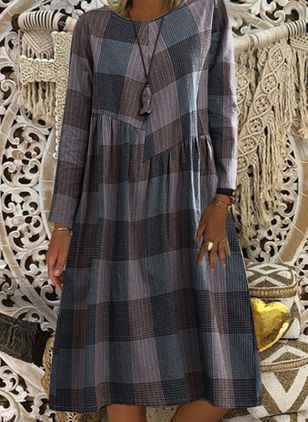 Casual Plaid Tunic Round Neckline Shift Dress (107520709)