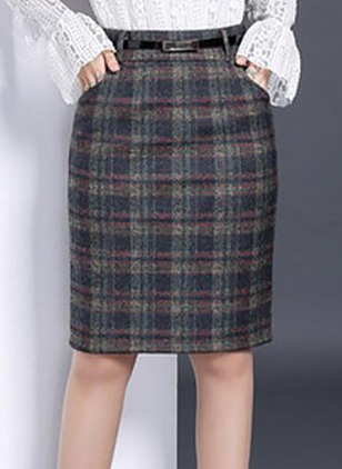 Polyester Tartan Knee-Length Casual Skirts