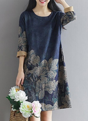 Floral Embroidery Long Sleeve Knee-Length Shift Dress