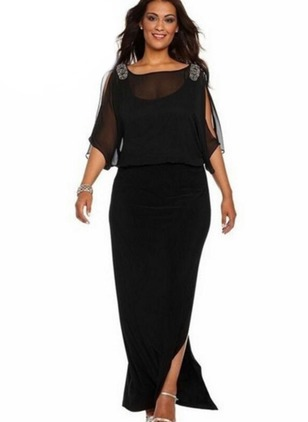 Solid Appliques Boat Neckline Maxi Shift Dress