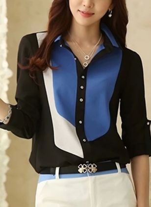 Color Block Elegant Collar Long Sleeve Blouses
