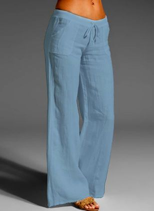 Casual Loose Pockets Mid Waist Cotton Blends Pants (4864661)