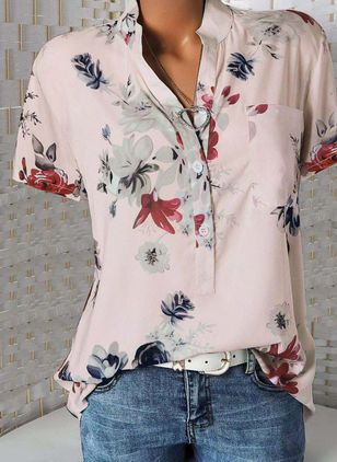 Floral Casual Stand Collar Short Sleeve Blouses (1536016)