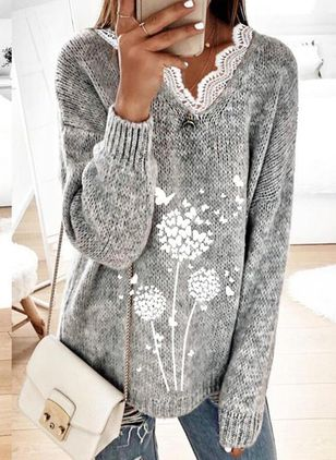 V-Neckline Floral Casual Loose Regular Lace Sweaters (146799295)