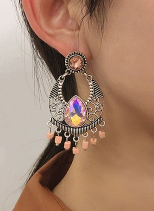 Casual Water Drop Gemstone Dangle Earrings (147243822)