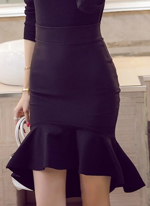 Polyester Solid Above Knee Elegant Ruffles Skirts