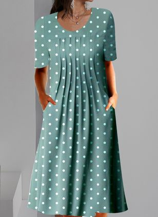 Casual Polka Dot Tunic Round Neckline Shift Dress (146812506)