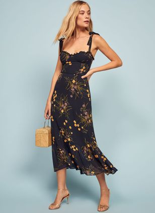 Floral Slip Sleeveless Midi X-line Dress