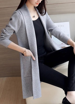 Cotton & Cotton Blend Long Sleeve Lapel Pockets Coats