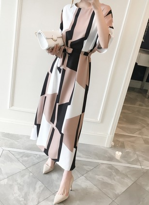 Casual Color Block Round Neckline Maxi X-line Dress (4864706)