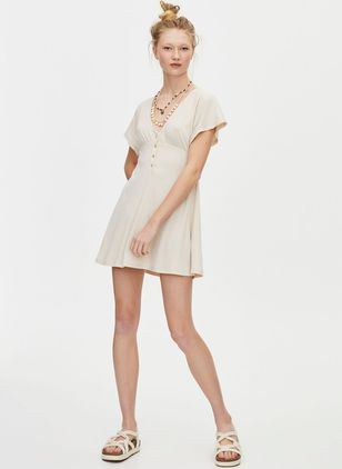 Solid Buttons Skater Above Knee X-line Dress