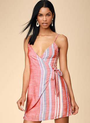 Color Block Slip Sleeveless Above Knee X-line Dress