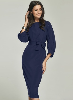 Polyester Solid 3/4 Sleeves Midi Dresses