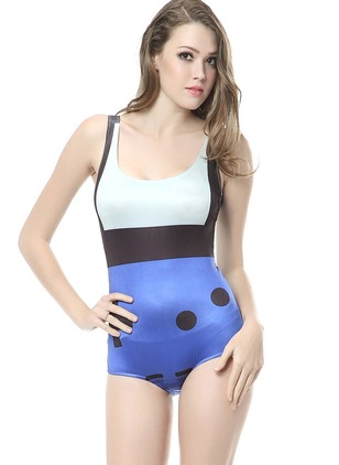 Polyester Halter Color Block One-piece Swimwear