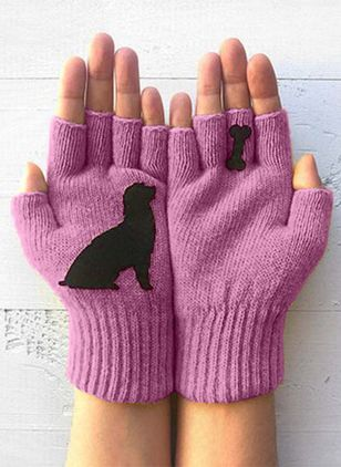 Women's Casual Cotton Blends Gloves & Mittens Winter Warm Fingerless Gloves (146642712)