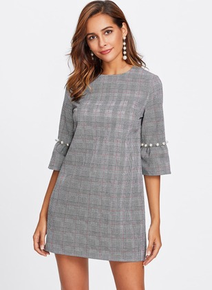 Polyester Plaid Half Sleeve Above Knee Dresses