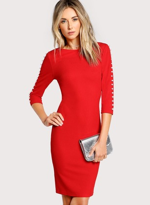 Polyester Spandex Solid 3/4 Sleeves Knee-Length Dresses