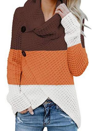 Draped Neckline Color Block Casual Loose Regular Buttons Sweaters (109974519)