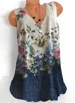 Floral Casual V-Neckline Sleeveless Blouses (4347991)