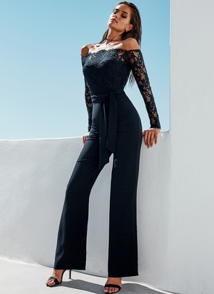 Silk Solid Long Sleeve Jumpsuits & Rompers