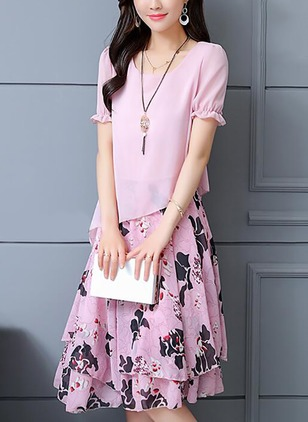 Floral Ruffles Short Sleeve Knee-Length A-line Dress