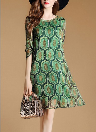 Floral 3/4 Sleeves A-line Dress