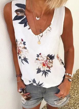 Floral V-Neckline Sleeveless Casual T-shirts (4456859)