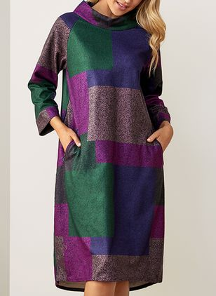 Casual Color Block Round Neckline Midi A-line Dress (1494596)
