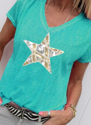 Geometric V-Neckline Short Sleeve Casual T-shirts (4101249)