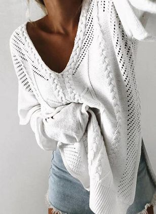 V-Neckline Solid Sexy Loose Regular Shift Sweaters (104146833)