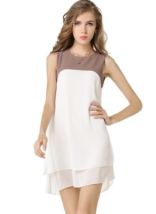 Chiffon Color Block Ruffles Sleeveless Shift Dress