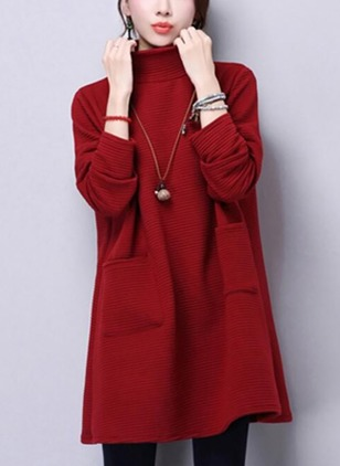Linen Solid Long Sleeve Above Knee Dresses