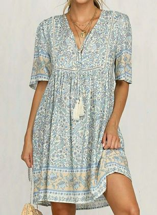Casual Floral Tunic V-Neckline A-line Dress (1539894)