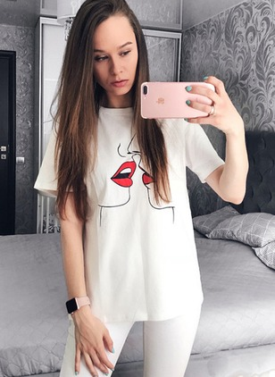 Cotton Polyester Character Round Neck Short Sleeve Casual T-shirts