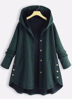 Long Sleeve Hooded Buttons Pockets Coats (104135460)