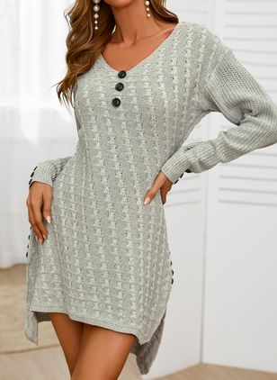 Casual Solid Sweater V-Neckline Sheath Dress (146859562)
