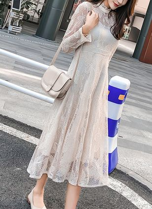 Solid Lace Long Sleeve Midi Dress