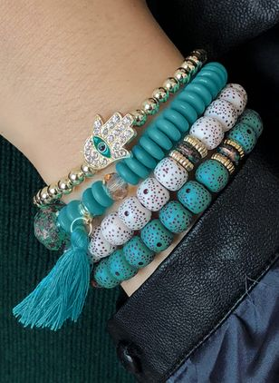Casual Round No Stone Beaded Bracelets (1521617)