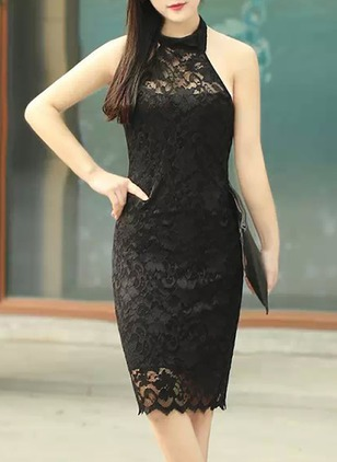 Solid Lace Pencil Knee-Length Sheath Dress
