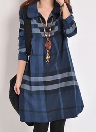 Casual Color Block Tunic V-Neckline Shift Dress (107422782)