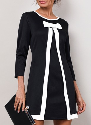 Solid Round Neckline 3/4 Sleeves Above Knee A-line Dress (4864705)