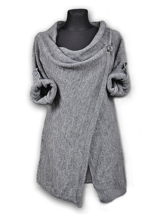 Polyester Draped Neckline Solid Casual Long Sweaters