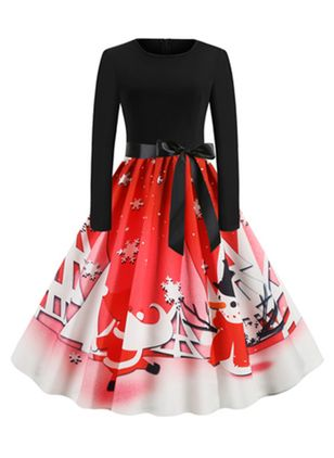 Christmas Color Block Round Neckline Midi X-line Dress (128229033)