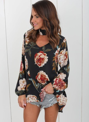 Floral Casual Polyester V-Neckline Long Sleeve Blouses